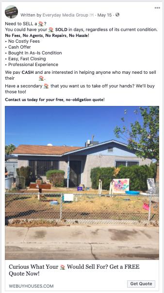Real estate investor social media ads
